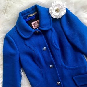 Juicy Couture Royal Blue Wool Pea Coat